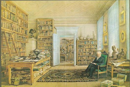 Alexander van Humboldt in zijn studeerkamer annex bibliotheek in Berlijn. Aquarel van Eduard Hildebrandt uit 1856
