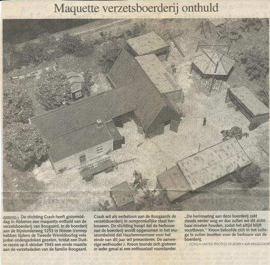 Maquette in verzetsboerderij van Bogaard onthuld. Uit: Haarlems Dagblad van 7-10-1999