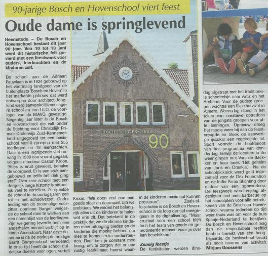 De Bosch en Hovenschool 90 jaar. Artikel in: de Heemsteder van 18 juni 2014