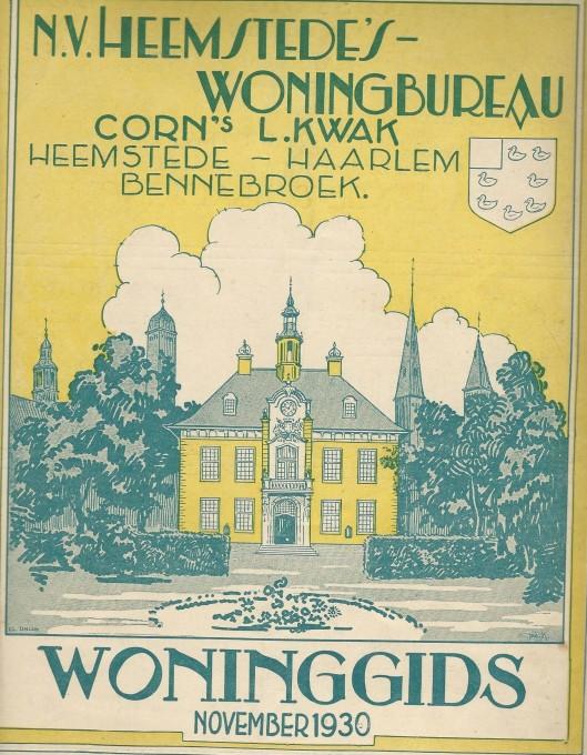Vooromslag woninggids november 1930 van Heemstede's Woningbureau Cornelis L.Kwak