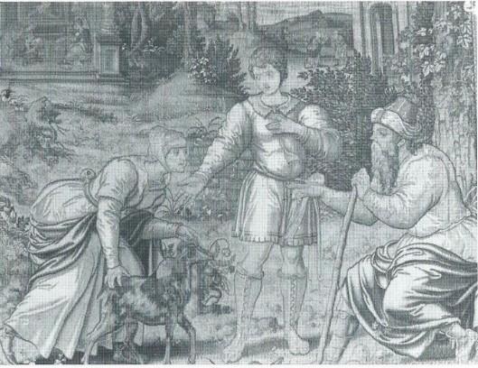 Een kostbaar gobelin afkomstig uit een Brusselse weverij van omstreeks 1530. Uitgebeeld is een scène uit Genesis: Rebecca spoort haar jongste zoon Jacob aan zijn blinde vader Isaak wederrechtelijk de eerstgeborene zegen te ontfutselen, die eigenlijk zijn oudste broer Esau toekomt. Door mr.H.E.R.Rhodius, mede namens zijn vier broers die hun jeugd in 'Dennenheuvel' doorbrachten, in 1961 uit dankbaarheid voor de goede jaren in Heemstede aan de gemeente geschonken. Het wandtapijt kreeg een plaats in de trouwzaal van het raadhuis.