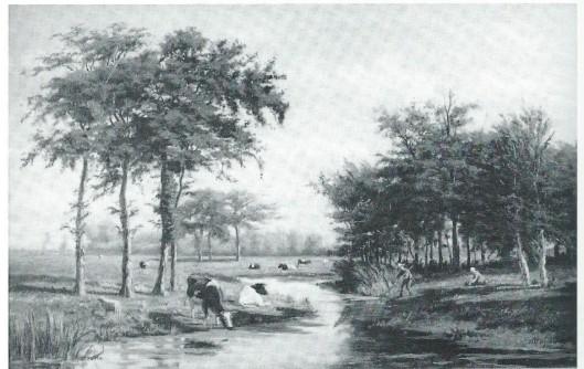 Ook Herman Wolbers schilderde vaak nabij de Monnikenvaart, het Spaarne en de weilanden van 't Clooster, zoals op dit doek uit 1875