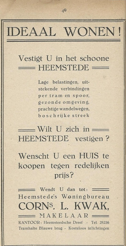 Advertentie Heemstede's woningbureau Cornelis L.Kwak