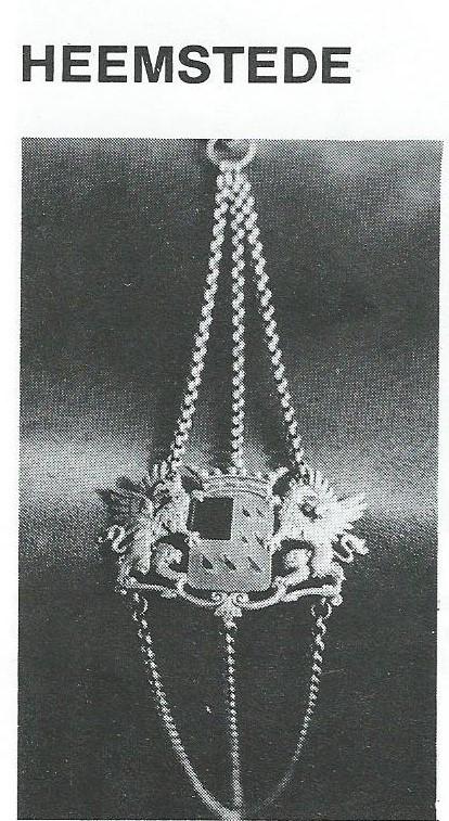 Verzilverde bode met wapen van de gemeente Heemstede (Uit: De Hollandsche bodebus; door M.Agterberg, 1981)
