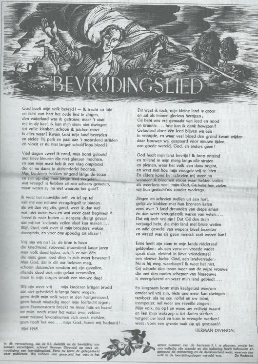 Bevrijdingslied mei 1945 van Herman Divendal, geplaatst in de Katholieke Illustratie, juni 1946. Tevens verschenen als afzonderlijke rijmprent.