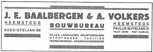 Briefhoofd van Bouwbureau J.E.Baalbergen & Volkers uit 1929
