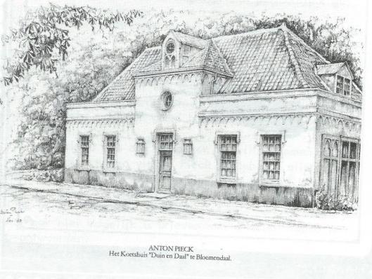 Koetshuis 'Duin en Daal' te Bloemendaal, in 1980 getekend door Anton Pieck