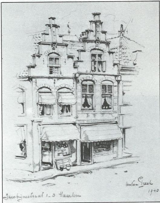 Gevel van boekhandel De Vries, Jacobijnestraat 1-3 Haarlem, in 1940 getekend door Anton Pieck