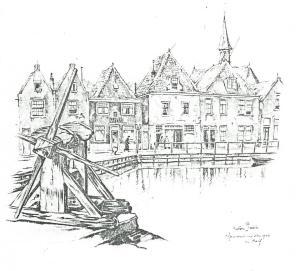 Gezicht op de haven van Spaarndam in 1943 getekend door Anton Pieck