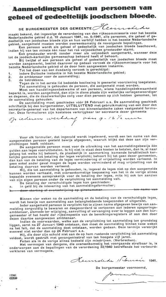 Aanmeldingsplichtcirculaire die alle personen uit Heemstede van gehele of gedeeltelijk joodse bloed in februari 1941 ontvingen van de gemeente.