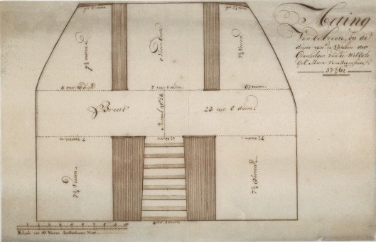 Tekening van opmeting grafkelder familie Pauw uit 1762 (Noord-Hollands Archief, via Cees Fortgens).