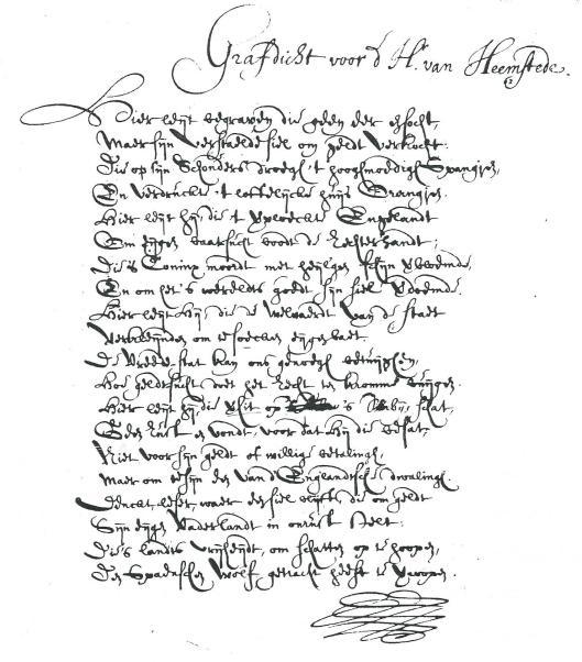 Grafdicht voor de Heer van Heemstede, anoniem, uit verzameling Pauw van Wieldrecht, inv.80, Nationaal Archief).