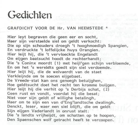 Transcriptie grafdicht op Adriaan Pauw; door mw. Hester Kerkvliet-Blans.