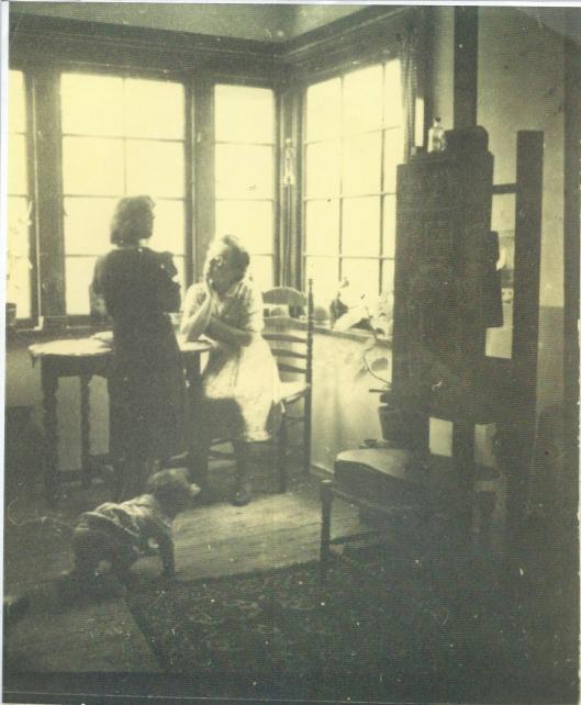 Helena Goudeket in haar atelier aan de Molenlaan 3 in Heemstede (1940 of 1941)