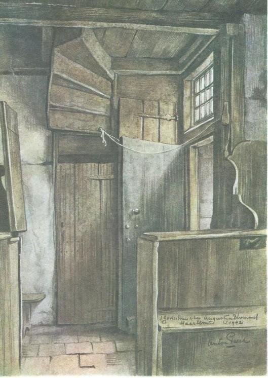 Geboortehuis van de Augustijn pastoor Bloemert uit Haarlem. ekening door Anton Pieck uit 1942