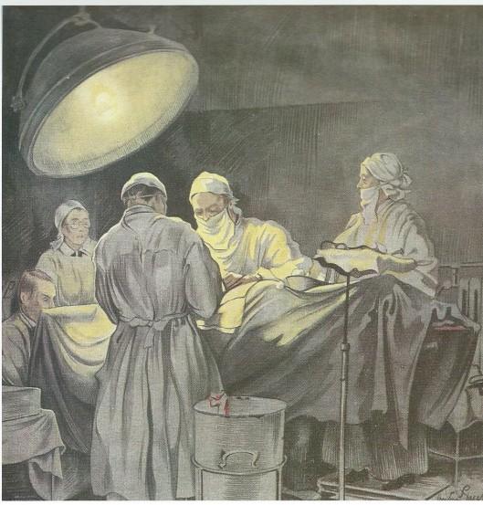 Operatie in het Diaconessenhuos te Haarlem. Omslag voor het boek over operaties door A.Majocchi, 1939, aquarel door Anton Pieck.