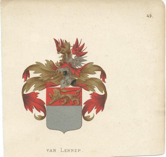 Heraldisch wapen Van Lennep. Uit: stam- en wapenboek door Vorsterman van Oyen