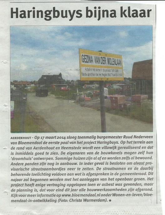P{rovisioneel straatnaambord: Gezine van der Molenlaan in Aerdenhout, gem. Bloemendaal (Bericht uit Heemsteedse Courant van 3 september 2015)