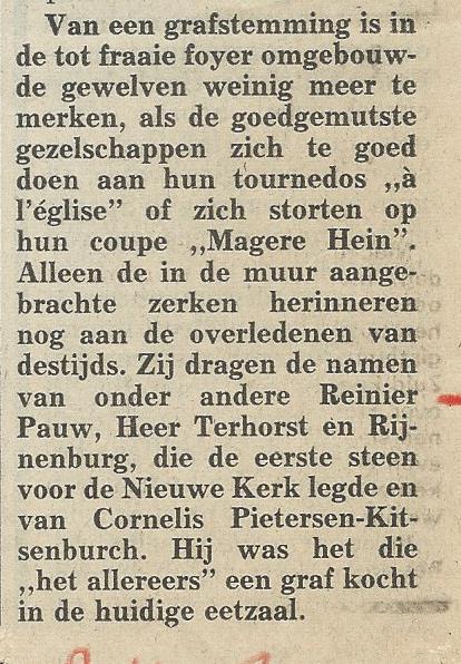 Bericht uit de Heemsteedse Krant betreffende grafkelders in de Nieuwe Kerk Den Haag , 8-1-1986