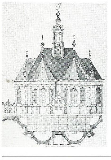 Tekening uit de 17e eeuw. Op de plattegrond staan de grafzerken aangegeven.