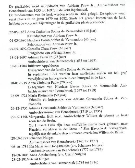 GRAFKELDER IN DE HERVORMDE KERK VAN BENNEBROEK. Bijlage 1 uit 'Het Huis te Bennebroek en z'n bewoners' door Maarten Verkaik
