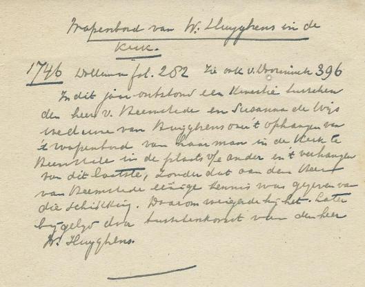 Notitie over wapenbord Huygens n.a.v. Dolleman en Van Doorninck.