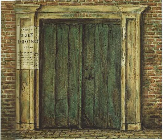 De deur van het Oude Doolhof aan de Prinsengracht op een teening van Johannes E.ter Gouw uit 1864. De aankondiging van veiling in 1862 zit op de deurpost geplakt. Een deel van de voorwerpen ios in bezit van de gemeente gebleven, een deel is verkocht aan opkopers en het resatnt is vernietigd.
