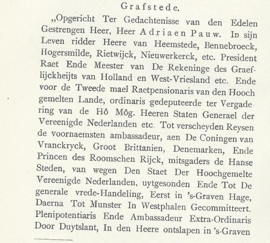 Inscriptie op de graftombe van Adriaan Pauw, vermoedelijk v ervaardigd door stadstimmerman Pieter de Keyser, zoon van Hendrik de Keyser in 1656/1657.