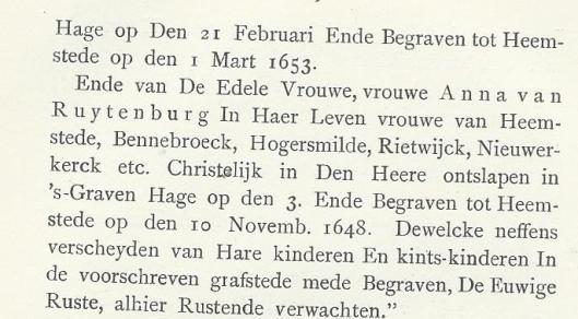 Vervolg inscriptie grafmonument Adriaan Pauw en Anna van Ruytenburgh in de Oude Kerk te Heemstede (Uit: H.Koenen, genealogie Pauw).