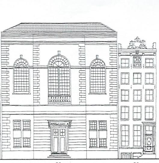 Tekening van Keizersgracht 20, huis rechts met een lijstgevel uit circa 1740 met attiek. De fraai versierde kuif bestaat nog steen. (Op nummer 20 was tot 1929 een kerk gevestigd, naar een ontwerp van Van Straaten uit 1837.