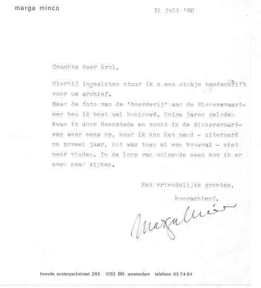 Schrijven van Marga Minco, 31 juli 1980
