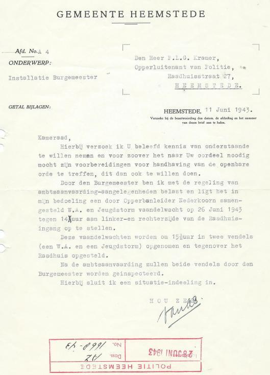 Brief aan NSB-politiechef Heemstede, opperluitenant P.L.G.Kramer, over installatie van NSB-burgemeester J.H.van Riesen, gedateerd 11 juni 1943.