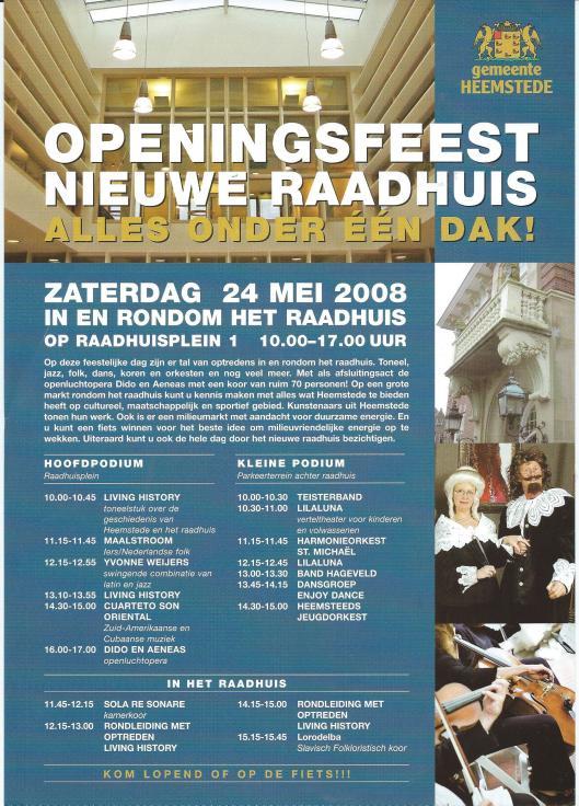 Flyer van het openingsfeest nieuwe raadhuis; alles onder een dak, 24 mei 2008