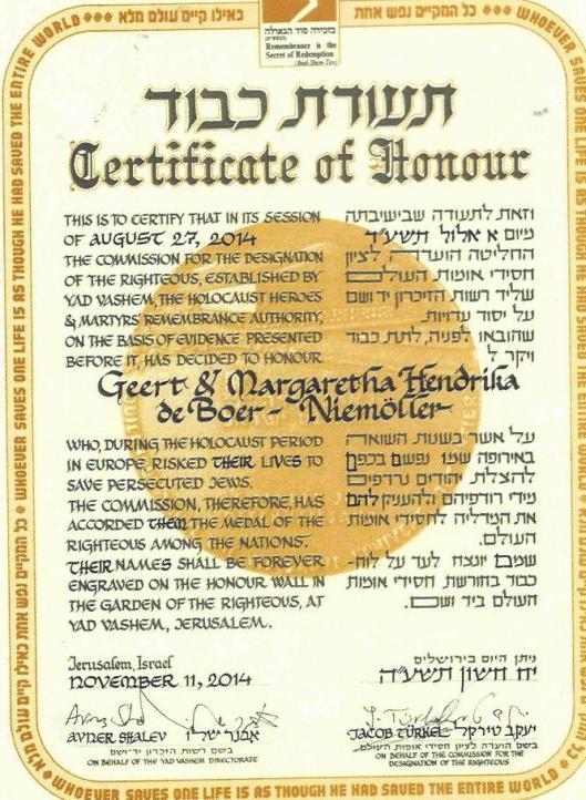 Certificaat Yad Vashem: Geert de Boer en Margaretha Hendrika de Boer-Niemöller