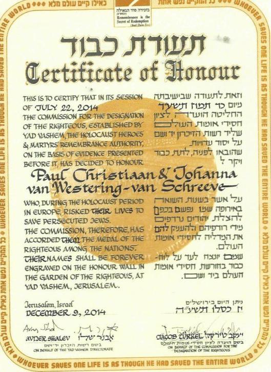 Certificaat Yad Vashem onderscheiding postuum voor Paul Christiaan van Westering en Johanna van Westering-van Schreeven