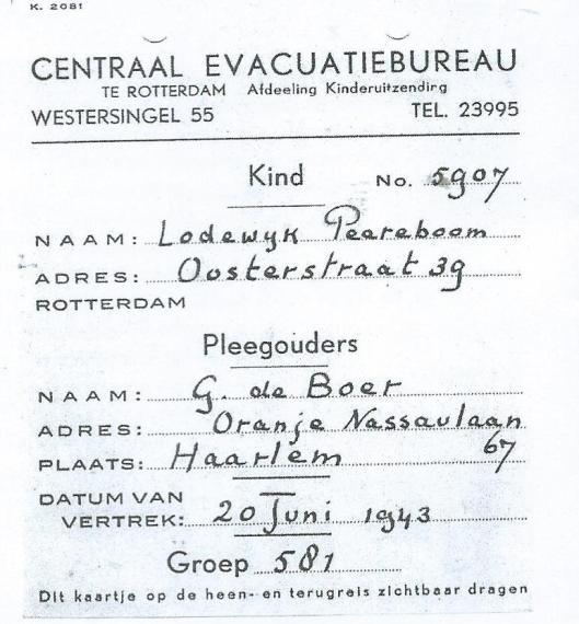 Het vervalste persoonsbewijs van Levi Samson onder schuilnaam Lodewijk Peereboom