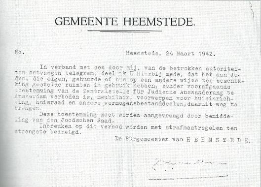 Eén van de vele beperkende voorschriften die door middel van stencils aan de Joodse inwoners van Heemstede werden verstuurd. Ook burgemeester Van Doorn werd gedwongen dergelijke mededelingen te verzenden.