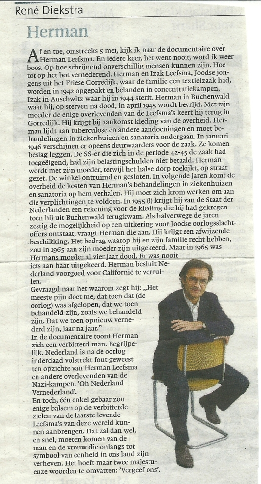 Column van René Diekstra uit het Haarlems Dagblad van 13 mei 2013