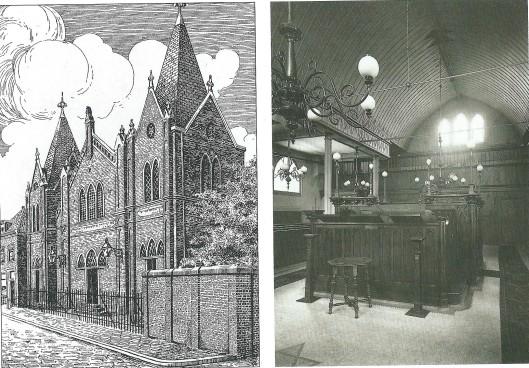 Links: synagoge van de Nederlands-Israëlitische Gemeente aan de Lange Begijnesteeg in Haarlem (1911). De synagoge werd in 1842 ingewijd. Tijdens WO II in beslag genomen en als pakhuis aangewend. De inboedel viel ten prooi aan diefstal en vernieling. In 1953 brandde het pand af. Na vanaf 1949 een bovenpand in het Kenaupark als synagoge fungeerde bevindt zich deze tegenwoordig in Heemstede