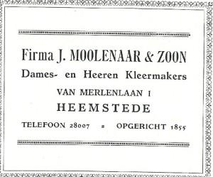 F.W.Mollenaar, zoon van firma J. Moolenaar & Zoon nam met gevaar voor eigen leven Joodse onderduikers in huis