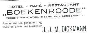 Advertentie uit 1937 toen hotel Boekenrode werd beheerd door J.J.M.Dickmann