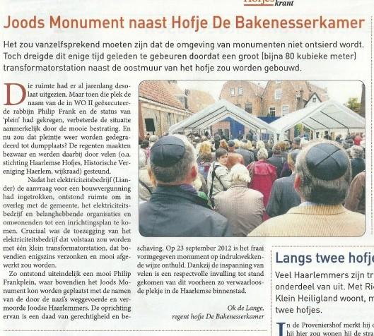 (Haarlemse Hofjes, nummer 18, januari 2013)