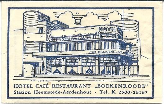 Suikerzakje van hotel café en restaurant Boekenrode, Heemstede
