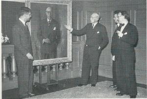 Aanbieding van het schilderij van burgemeester Van Doorn, 30 juni 1949