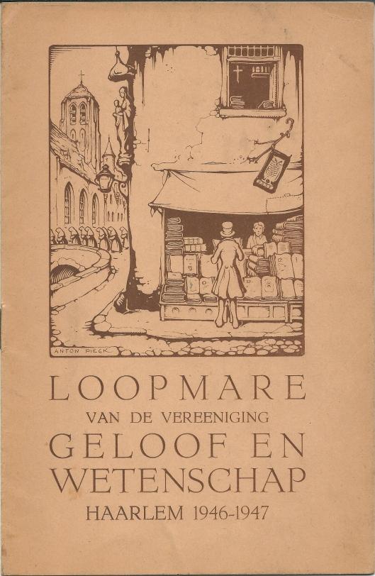 Voorzijde 'Loopmare van de vereeniging Geloof en Wetenschap Haarlem 1946-1947 met illustratie van Anton Pieck