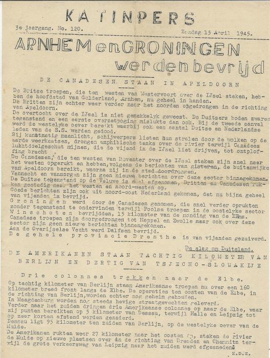 Voorzijde stencil katinpers Heemstede, 3e jaargang, nummer 120, zondag 15 april 1945