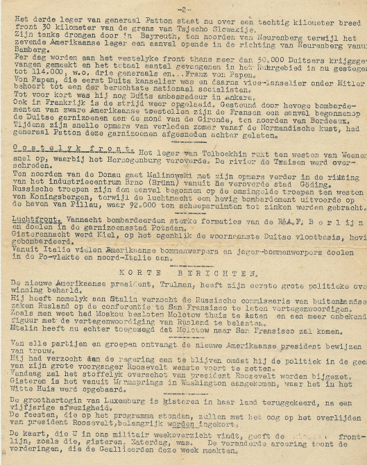 Achterzijde Katinpers Heemstede, 3e jaargang, nummer 120, zondag 15 april 1945.