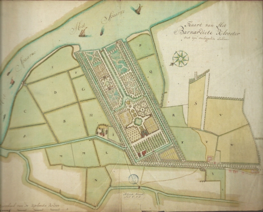 Door landmeter Dirk Klinkenberg in 1744 vervaardigde kaart voor geometrische parkaan leg van 't Klooster