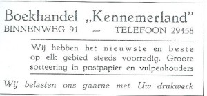 Advertentie van boekhandel Kennemerland in Heemstede uit 1939
