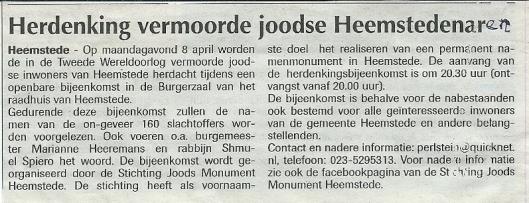 Persbericht de Heemsteder 13-3-2013